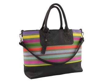 French striped chic colorful leather purse - Barcelone bag