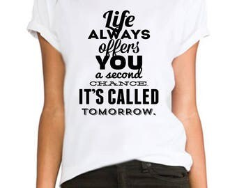 Life is always OFFER you ladies fitted fashion tumblr Rihanna printed hipster swag  ladies/womens/girls 100% cotton tshirt tops tee