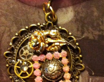 Steampunk Rose Necklace. Pink, watch geers, rose- Handmade