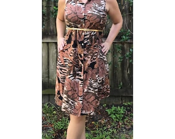 90s Brown Floral Button-Down Dress / Size Large