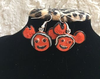 Disney inspired Nemo polymer clay earrings