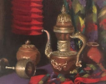 Original Still Life Oil Painting Turkish Still Life on Canvas