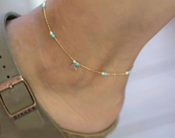 Dainty Ankle Bracelet | Beaded Anklet | Tiny Heart Anklet |Delicate Anklet |Boho Anklet | Ankle Jewelry |Silver Ankle Bracelet | Thin Anklet