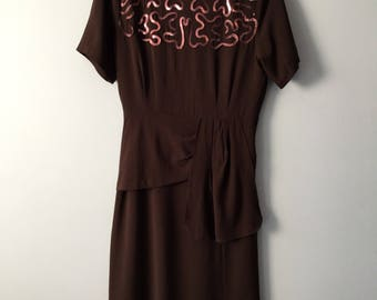 1940's Brown Crepe Rayon Sequin Dress, Shirred Shoulders, Size Small