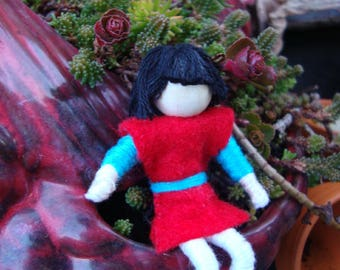 Handmade, Fairy doll, knight, posable, dragon rider, small, felt, red, blue, white, American flag