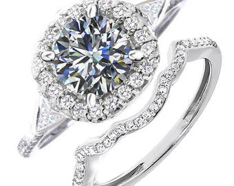 4.02ct Diamond Engagement and Wedding Ring Set Size 7