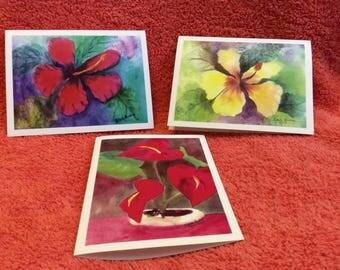 Note Cards Set #4 Hawaiian Flowers