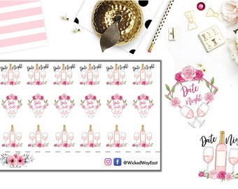 Planning Date Night Planner Sticker, Romantic Rose Sticker, Pink Champagne Sticker, Wining and Dining Planner Sticker, Cute Kawaii Accessory