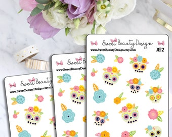 Sugar Skulls Planner Stickers, Day of the Dead Planner Sticker, Dia De Los Muertos Sticker, Scrapbook Sticker, Planner Accessories