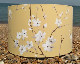 Handmade Drum Lampshade - Brown, White Blossom on Mustard Yellow Fabric