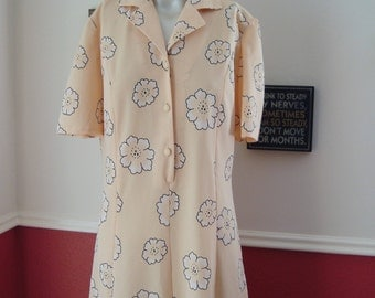 Gorgeous 1960s Summer Dress Floral in Yellow (M/L)