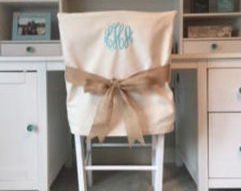 Monogrammed Dorm Chair Back Cover Personalized Office Dining