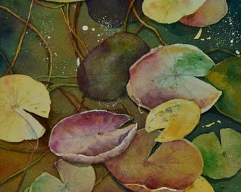 Fall Water Lilies, Original Watercolor Painting