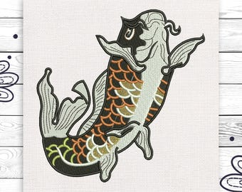 Fish embroidery Discount 10%  Machine embroidery design 4 sizes INSTANT DOWNLOAD EE5075
