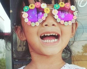 Flower Sunglasses, Embellished Sunglasses, Rainbow Sunglasses, Summer Sunglasses, Floral Sunglasses, Festival Sunglasses,
