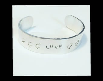 "Silver Bangle ""LOVE"" with Hearts Hand Made Hand Stamped Bracelet Positivity Bracelet Valentine's Gift"
