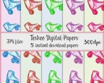 Rollers digital papers, Printable art, Vintage printable art, Roller drawing, Instant download papers watercolor rollers, Printable rollers