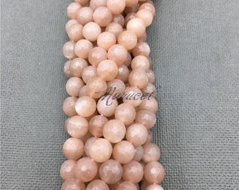 Round faceted Sunstone Beads,Orange Natural Stone Beads For DIY Jewelry Making   8mm 10mm 12mm  MB17060