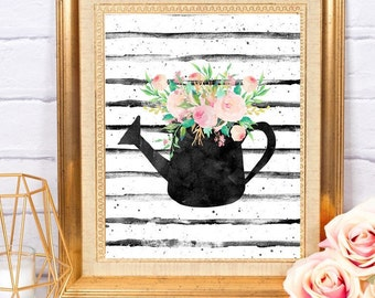 Watering Can with Flowers ~ Printable Art ~ Digital Download ~ Home Office Dorm Kitchen Decor Wall Art Printable