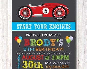 Race Car Birthday Invitation, Race Invitation, Racing Car Invite, printable