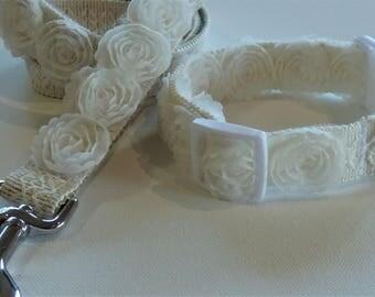 Elegant Tulle Rosette Matching Wedding Dog Collar & Leash