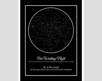 CUSTOM STAR MAP- large  - digital print