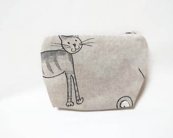Rigid box / / Kit / / lined and closed with zipper / / with dice cats / / mouse Motif