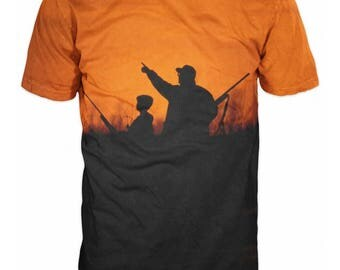 3D Hunting T-shirt Duck Hunter Sunset Sunrise Orange Father and Son