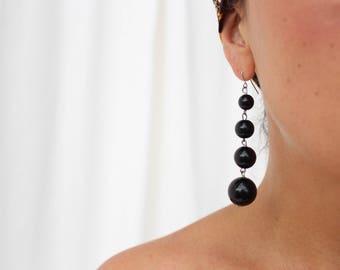 vintage black balls drop dangle earrings / long drop earrings/ 80's / statement earrings/ resin jewelry