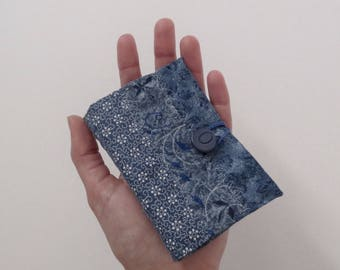 Needle Book - Blue Cotton Patchwork Quilted Handmade Needlebook Pincushion Case Keeper w/ Grey Felt Pages; OOAK Sewing Gift by Proxy Goods