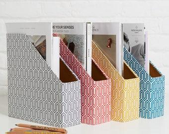 100% recycled geometric magazine file holder