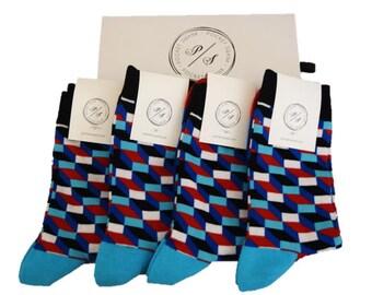 Groomsmen Socks Set 4 Pairs Socks Funky Socks Groomsmen Gift Groomsmen Socks Pack Sock Gift Set Happy Socks Dress Socks Mens Box Set