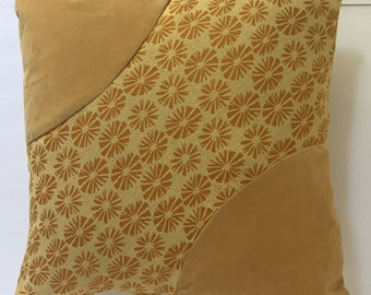 Golden Yellow pillow cover sunflower print with light tan combination,  two corners solid  yellow-tan, upholstery fabric/polyester 20x20