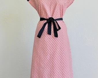 1970s Butterfly Print Cap Sleeve Dress