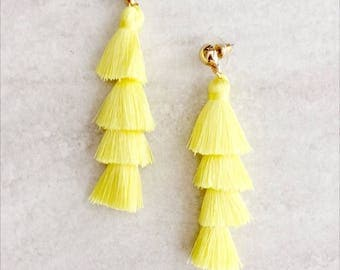 Tassel Earrings Fringe Tassel Earrings, Yellow Tiered Tassel Earrings, Layered Tassel Earrings