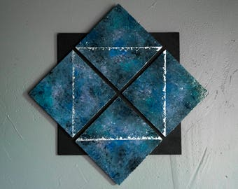 Blue Purple and Black + Silver Geometric Painting