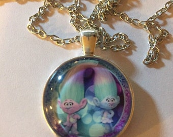 Cute Anime Trolls Cabochon Glass Tibet Silver Chain Pendant Necklace - d33