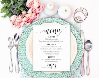 Wedding Menu Printable, Wedding Menu Template, Table Menu, Wedding Menu Cards, Menu Sign, Editable Menu Cards, Bridal Shower Menu, DIY Menu