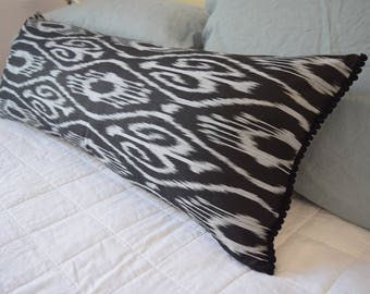 READY TO SHIP Handwoven Uzbek Black Ikat Extra Long Lumbar Cushion Cover, Pillow Cover with Black Pom Poms