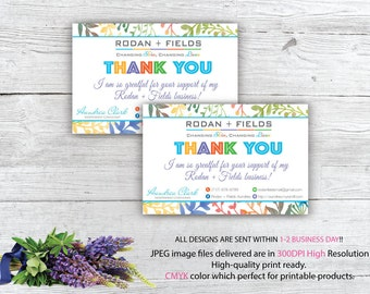 Rodan and Fields Thank You card, Floral Thank You Card, Rodan and Fields Business, r and f, thank you card card only one Sided RF03
