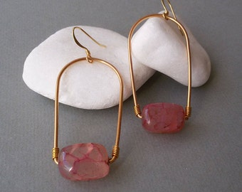 Gold Plated Earrings with Pink Agate Gemstone Beads