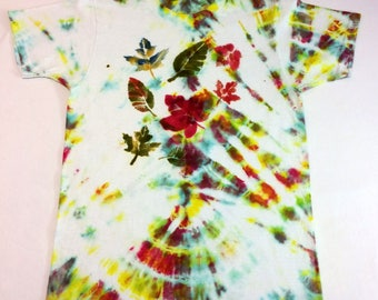 Children's 10/12 100% cotton short sleeve t-shirt - hand tie dyed with hand dyed leaves - beautiful fall colors