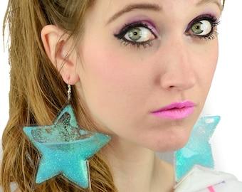 Liquid Glitter Earrings - Stars - Blue Pixie Dust