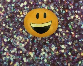 Smiley Emoji Handpainted Rock Refrigerator Magnet / Garden Accent