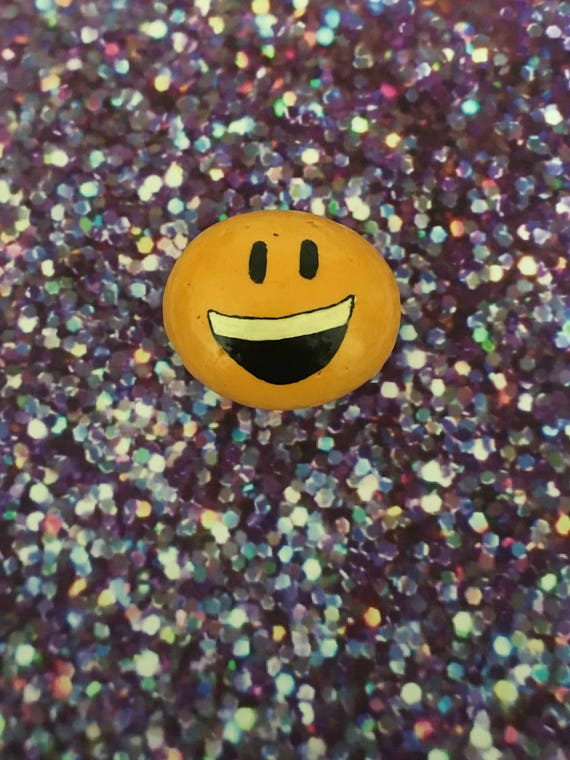 Smiley Emoji Hand Painted Rock Refrigerator Magnet / Garden