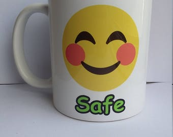 Safe or Risky mood warning white ceramic 11oz mug, smiley face and angry face