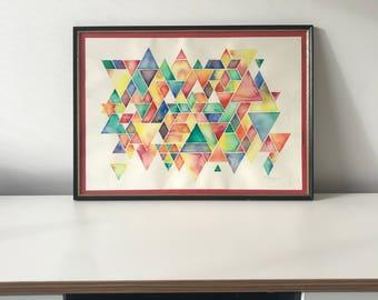 Geometric Abstract Watercolour - Original Artwork