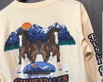 M * Vintage 80s 1984 Busch Gardens Clydesdales Tampa Florida L/S t shirt