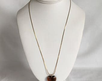 Faceted Heart Pendant Necklace, Brown, Plastic, Gold Tone Chain, Vintage, 1970s