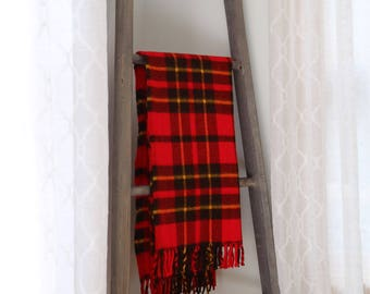 SALE: Vintage Faribo Red & Yellow Plaid Throw - Excellent Condition